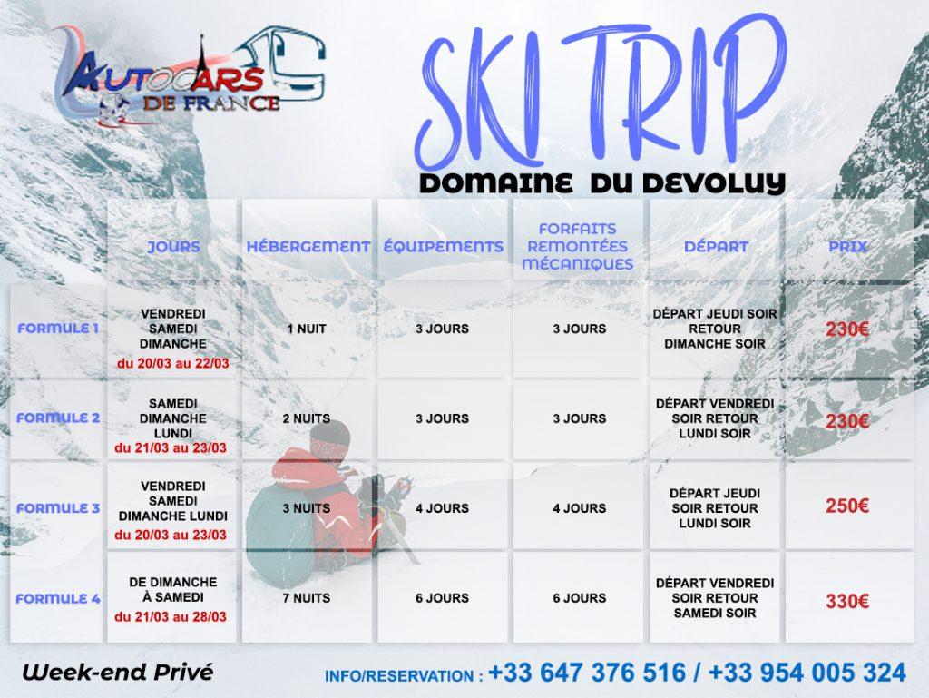 ski trip weekend privé